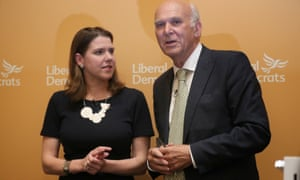 Sir Vince Cable on the day in 2017 when he was named as the new leader of the Liberal Democrats with the deputy leader Jo Swinson.