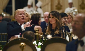 Donald and Melania Trump at Thanksgiving dinner last year.