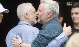 Billy Bragg with Jeremy Corbyn at Glastonbury in 2017.