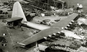 The vast wooden sea-plane 'Spruce Goose', seen near completion in Long Beach, California.