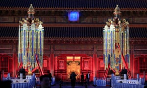 """Replicas of """"Longevity"""" lanterns are seen in front of the Qianqing Palace in the Forbidden City in Beijing, China, this month."""