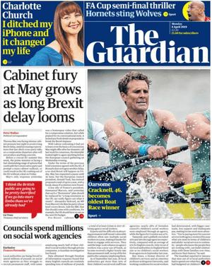 Guardian front page 8 april 2019
