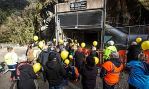 Family members prepare to release 29 yellow balloons at the entrance to the Pike River Mine at a private family event ahead of body-recovery specialists entering the mine.