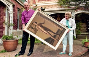 In 1997, Sheila Cruthers' collection was displayed in Archbishop Peter Carnley's residence to raise money for breast cancer research. They stand here with Freda Robertshaw's 1940 painting Standing Nude.