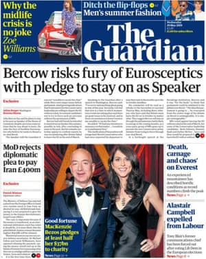Guardian front page, Wednesday 29 May 2019