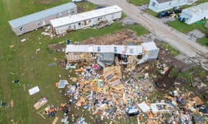Debris covers an area in a mobile home park after a tornado touched down in El Reno, Oklahoma on 26 May 2019.