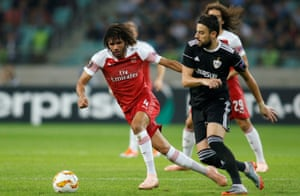 Mohamed Elneny in action during Arsenal's visit to Azerbaijan to face Qarabag in October. Mkhitaryan was also left at home for that game.