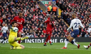 Lucas Moura scores at Anfield in March. Can he be left out despite his semi-final hat-trick?