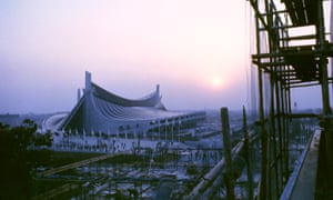 Sunrise at the Yoyogi national gymnasium in 1964, designed by Kenzo Tange.