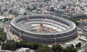 Kengo Kuma's under-construction New National Stadium, intended to 'restore the link that Tokyo lost with nature', in 2018.