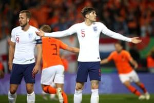 John Stones looks for answers after losing Matthijs de Ligt for the Netherlands equaliser.