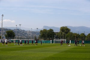 The England squad during training on Saturday.