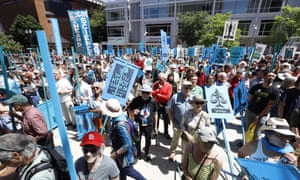 Supporters attend a rally after the climate change hearing in Portland, Oregon.