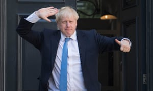 Boris Johnson outside Conservative party HQ yesterday.