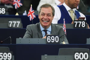 Nigel Farage smiles as he attends a debate at the European Parliament on July 4.