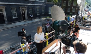 Media crews prepare in front of 10 Downing Street for Theresa May's departure as PM and Boris Johnson's arrival as her replacement.