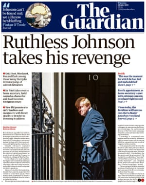 Guardian front page, Thursday 25 July 2019