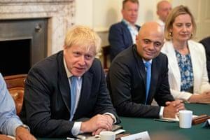 boris johnson and savid javid in cabinet meeting
