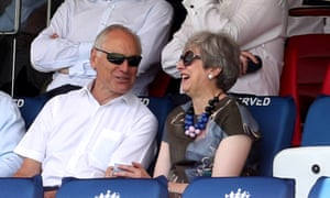 Theresa May watches England v Ireland test match