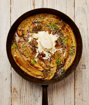 Yotam Ottolenghi's sticky bananas with brown sugar and lime.