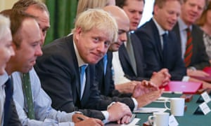Prime Minister Boris Johnson Meets With His New Cabinet<br>LONDON, ENGLAND - JULY 25: Prime Minister Boris Johnson presides over his first Cabinet meeting at 10 Downing Street on July 25, 2019 in London, England. Britain's New Prime Minister, Boris Johnson, appointed his Cabinet yesterday evening with 17 of Theresa May's Ministers replaced. The number of Leave supporting Ministers doubled from six to 12 and 31 Ministers are now entitled to attend Cabinet. (Photo by Aaron Chown - WPA Pool/Getty Images)