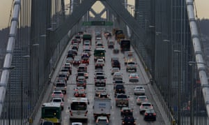 Vehicles make their way westbound on Interstate 80 across the San Francisco-Oakland Bay Bridge.