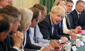 Boris Johnson presides over his first cabinet meeting.