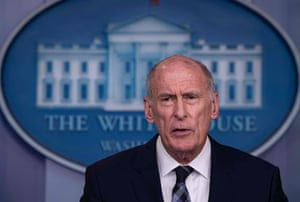 Director of National Intelligence Dan Coats speaks during a press briefing at the White House.