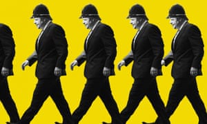Composite image showing Boris Johnson in a bobby's helmet