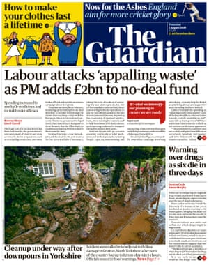 Guardian front page, Thursday 1 August 2019
