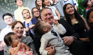 Secretary of State Mike Pompeo and his wife, Susan, meeting with staff at the US Embassy in Bangkok today