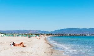 Spiaggia del Poetto beach, Cagliari, Sardinia.
