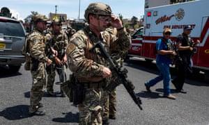 Law enforcement agencies respond to an active shooter at a Walmart near Cielo Vista Mall in El Paso, Texas