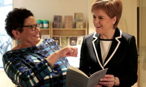 'It's a fantastic gift!' … Kay celebrates becoming Scots makar with Scotland's first minister Nicola Sturgeon in 2016.
