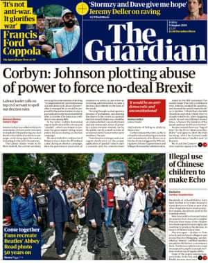 Guardian front page, Friday 9 August 2019