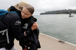 Thunberg gets a hug before she begins her voyage.