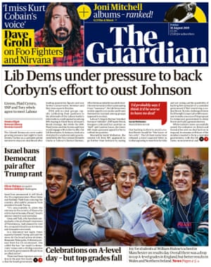 Guardian front page, Friday 16 August 2019