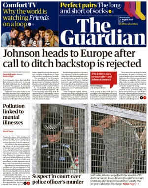 Guardian front page, Wednesday 21 August 2019