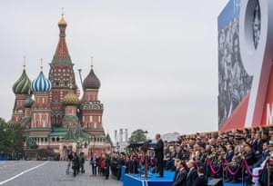 Vladimir Putin gives a speech during this year's Victory Day parade in Red Square, Moscow.