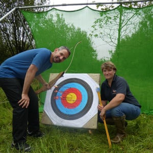 Dixe racking up the golds in his final volley of arrows (with instructor Katie Cox ), Devon