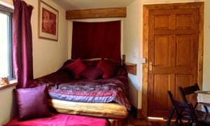 Bedroom at the Bulworthy Project cabin, Devon, UK.
