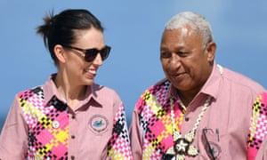 Frank Bainimarama with New Zealand's prime minister, Jacinda Ardern, at the forum.