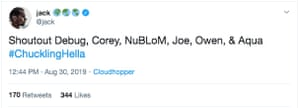 The first Tweet sent by Jack Dorsey's account after an apparent hacking.