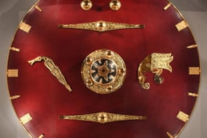 A shield, believed to have belonged to King Raedwald of East Anglia, on display in the new exhibition.