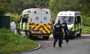 Police vans were blocking the entrance to the caravan site on Padworth Road as part of the investigation.