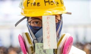 A protester at Hong Kong international airport