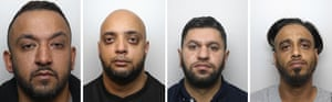 Four of the five men sentenced to prison in Sheffield on Friday: (left to right) Abid Saddiq, Aftab Hussain, Masaued Malik, Sharaz Hussain.
