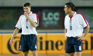 Frank Lampard (right) with Steven Gerrard after Austria's equaliser in Vienna in 2004.