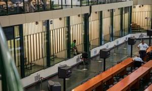 Berhe awaits the verdict in the courtroom in Ucciardone prison, built in the 1980s for mafia trials.