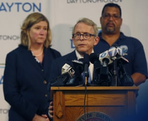 Governor Mike DeWine talks to the press.